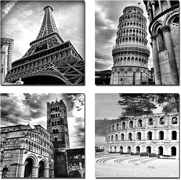 Wieco Art Architectures Modern 4 Panels Giclee Canvas Prints Europe Buildings Black and White Landscape Pictures Paintings on Canvas Wall Art Ready to Hang for Bedroom Home Office Decorations