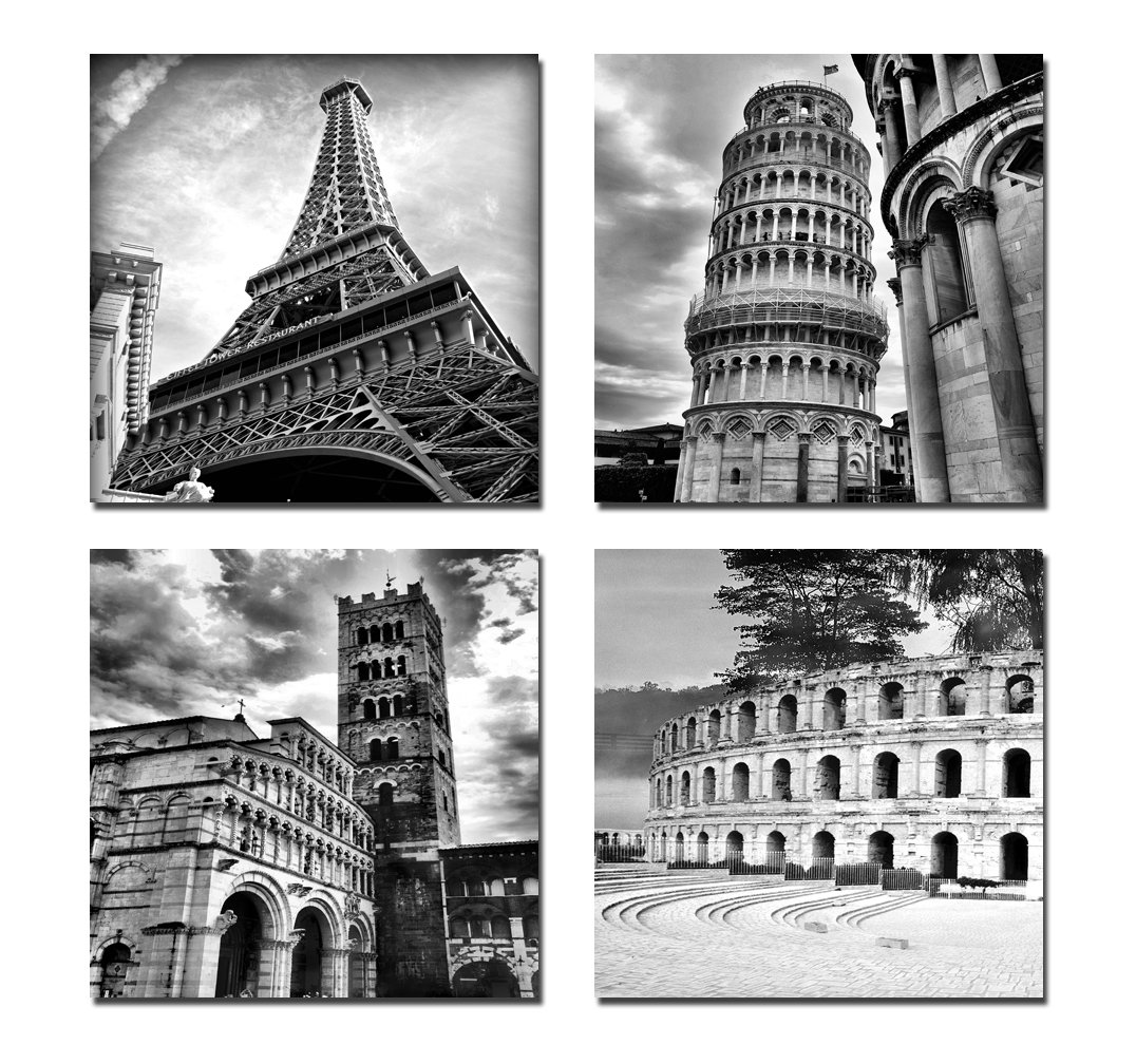 Amazon.com: Wieco Art Architectures Modern 4 Panels Giclee Canvas Prints  Europe Buildings Black And White Landscape Pictures Paintings On Canvas Wall  Art ...