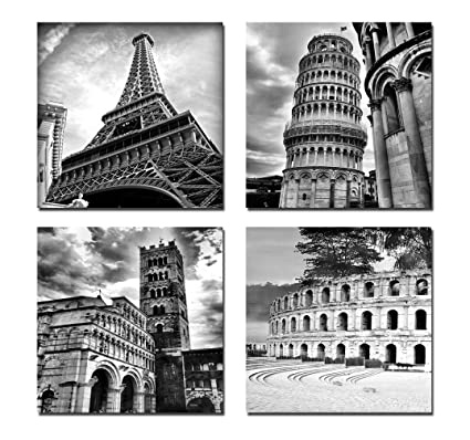 Wieco art architectures modern 4 panels giclee canvas prints europe buildings black and white landscape pictures