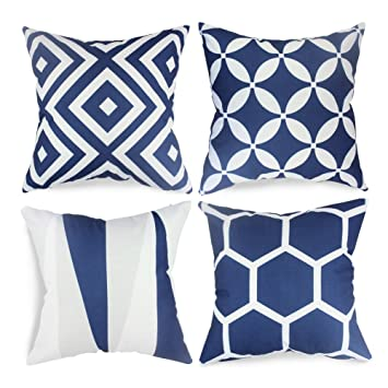 popeven royal blue throw pillow covers set of 4 outdoor geometric pattern cushion slipcovers 18 x