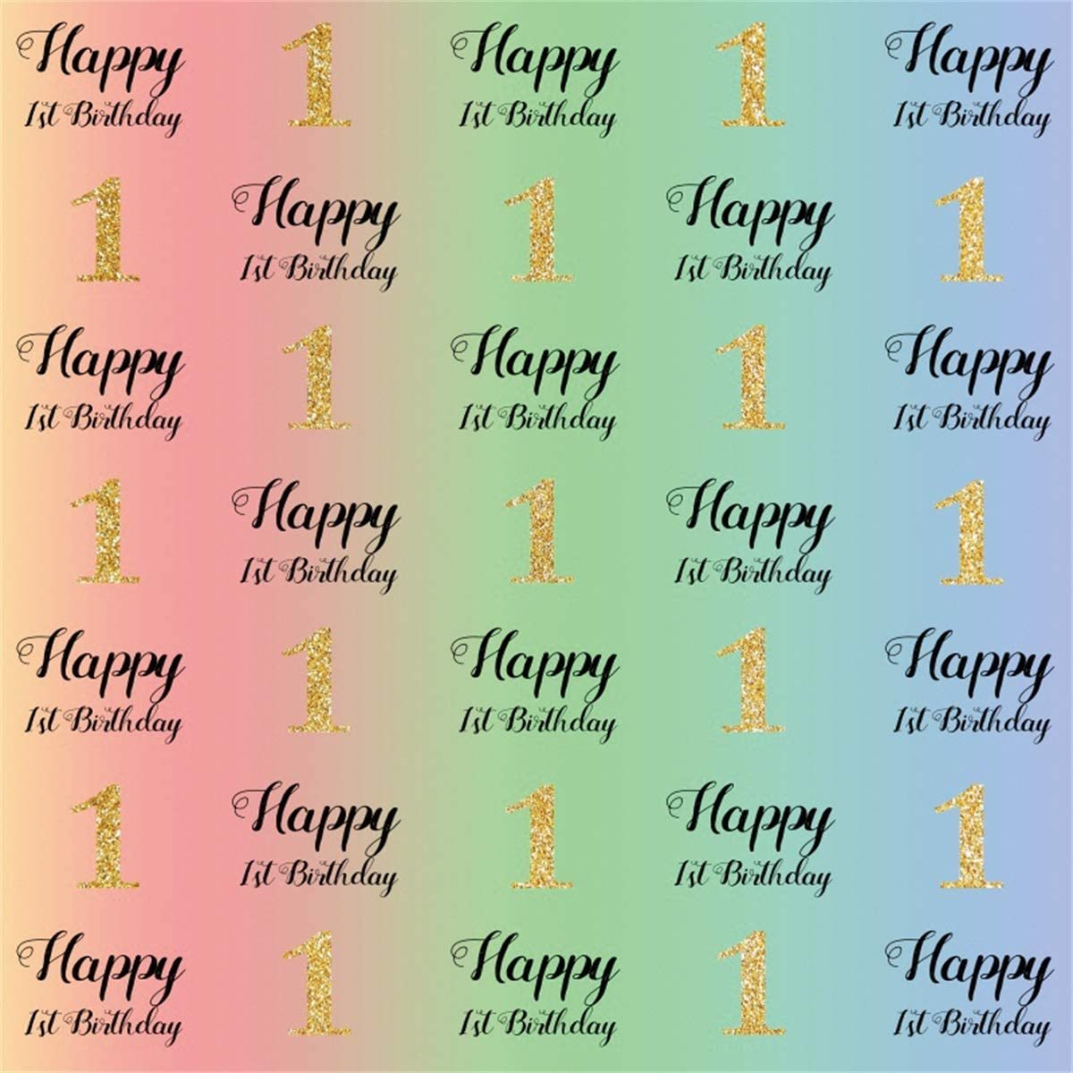 Yeele 10x10ft Golden One Year Birthday Backdrop Step and Repeat Happy 1st Birthday Photography Background Baby Infant Portrait Dessert Table Decoration Photobooth Props Digital Wallpaper