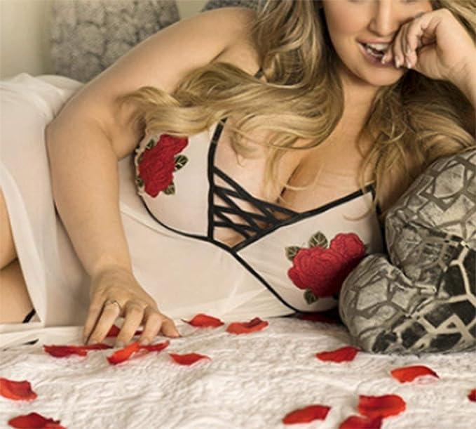 Frecoccialo Nuisette Femme Hyper Sexy Grande Taille Vol V Profond Bretelles  Croisées Broderie Floral au Poitrine Soutien Gorge Ensemble Babydoll Grande  ... 767d5af50e8
