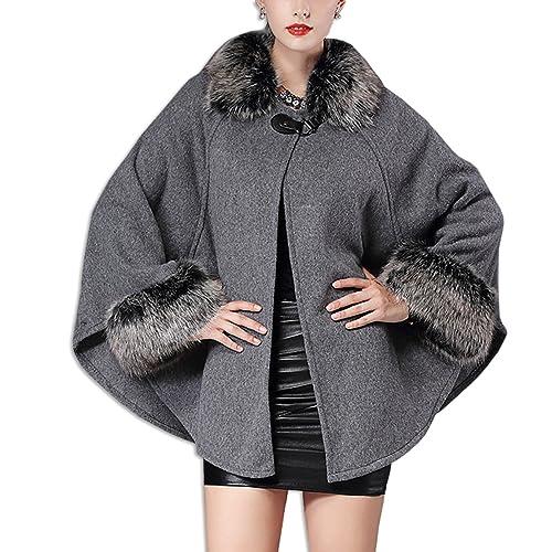 KAXIDY Mujer Chaqueta del Mantón Abrigo de piel de Imitación del Cabo Ropa de abrigo Chaquetas (Gris)