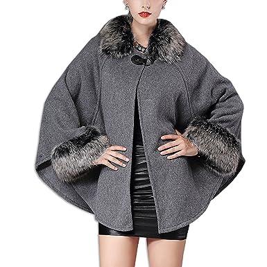 KAXIDY Mujer Chaqueta del Mantón Abrigo de piel de Imitación del Cabo Ropa de abrigo Chaquetas