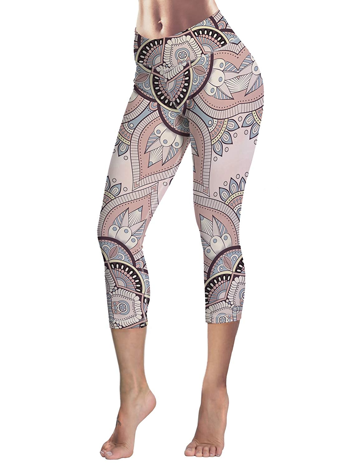 India11 Queen Area Women's Mandala Floral Print Fitness 4 Way Stretch Yoga Capris Leggings