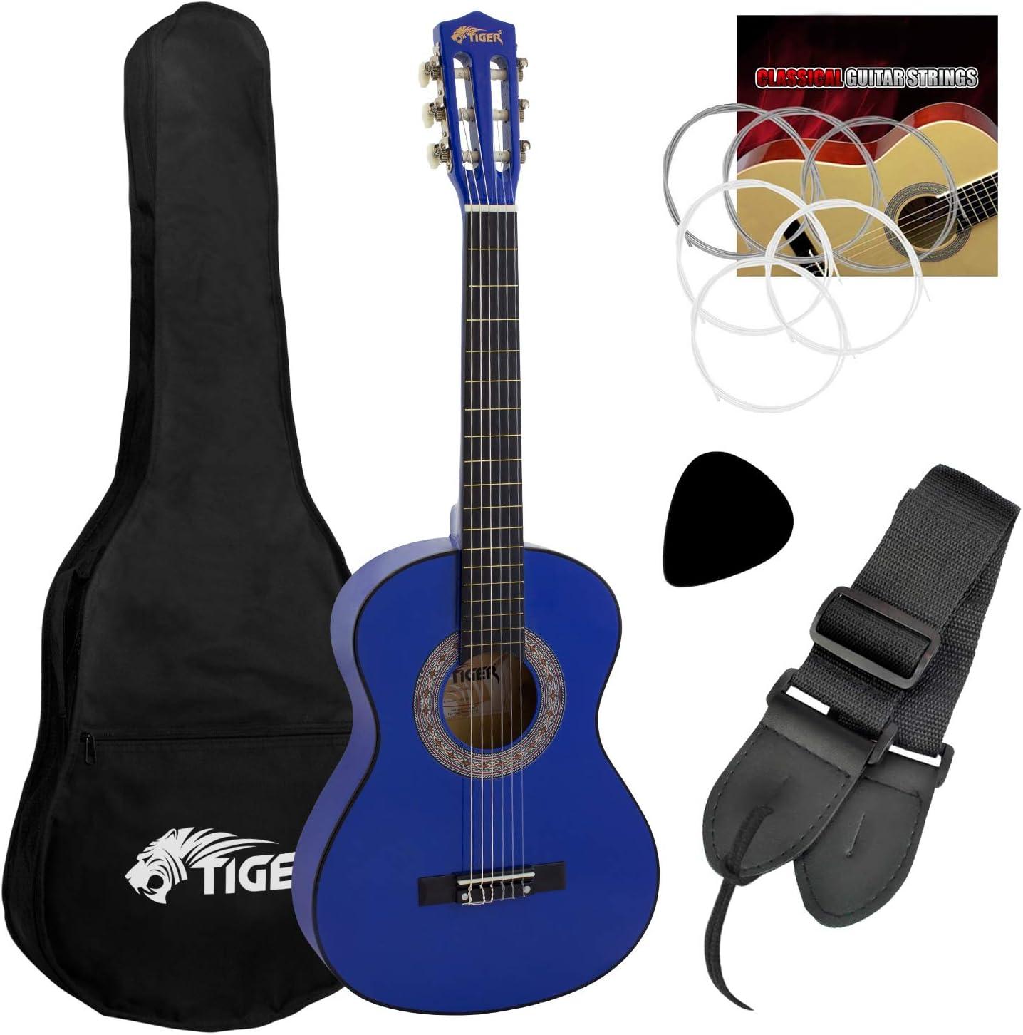Tiger CLG4-BL - Set de guitarra clásica de 3/4, color azul