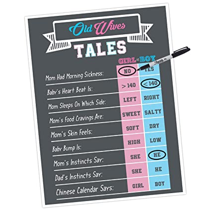 Gender Reveal Games and Decorations- Old Wives Tales Party Poster 18x24  Inches for Gender Reveal baa2ce782