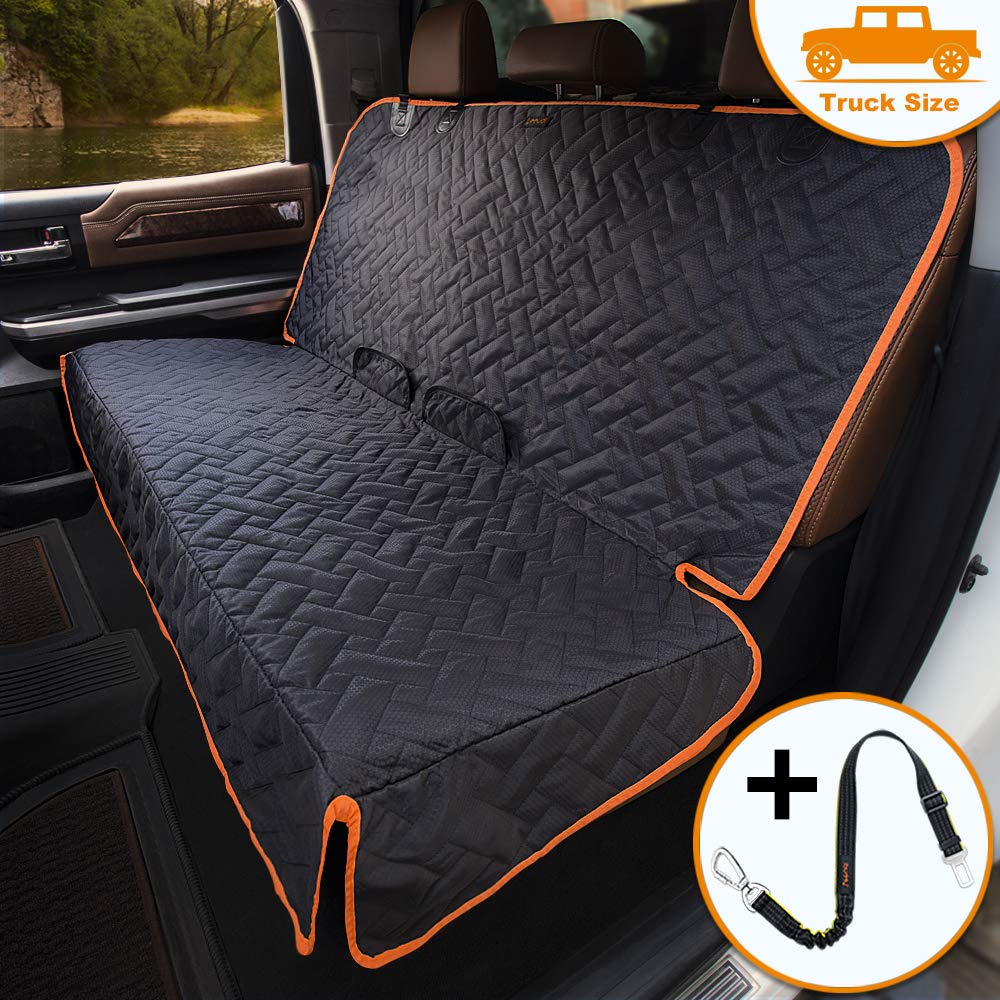 iBuddy Bench Seat Cover for Trucks/Large SUV/Car, Waterproof Back Seat Cover for Kids Without Smell, Heavy Duty and Nonslip X-Large Pet Car Seat Cover for Dogs with Dog Seatbelt, Machine Washable by iBuddy