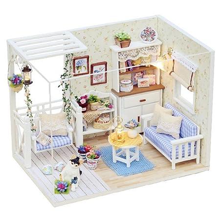 TOYMYTOY Miniatura casa fai da te di soggiorno in legno con ...