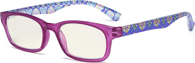 Eyekepper Gafas de lectura bloqueo luz azul - Protección UV420 Gafas de ordenador de color floral impresión Mujeres - Morado +2.50