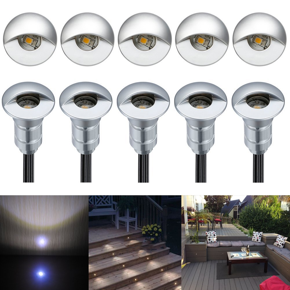 FVTLED 10pcs Low Voltage LED Step Lights Kit 1-1/25'' Half Moon Aluminum Outdoor Wood Deck Lighting Yard Garden Patio Stair LED Light Decoration Lamps, Cold White