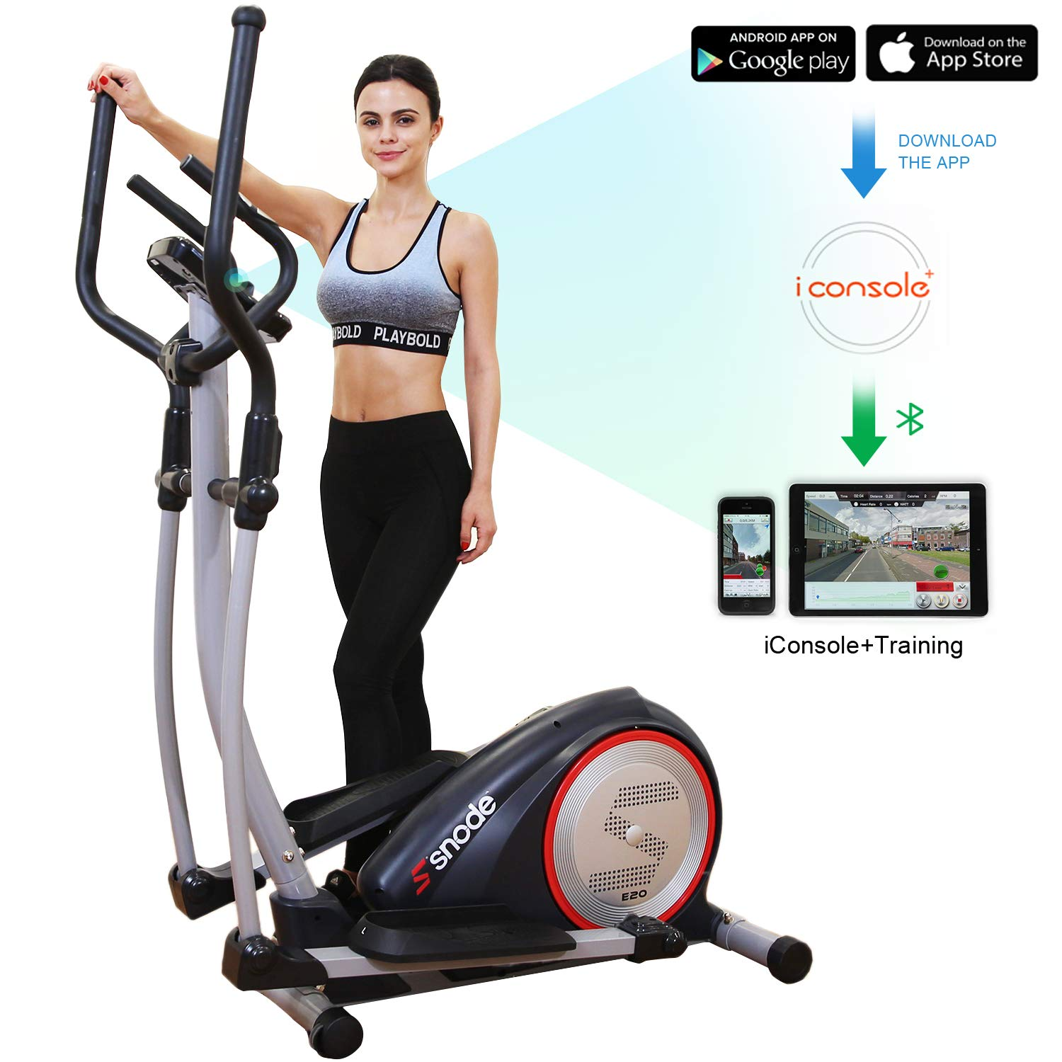 SNODE Magnetic Elliptical Machine Trainer Fitness Exercise Equipment for Home Workout with Bluetooth Capability Heavy Duty Cross Crank