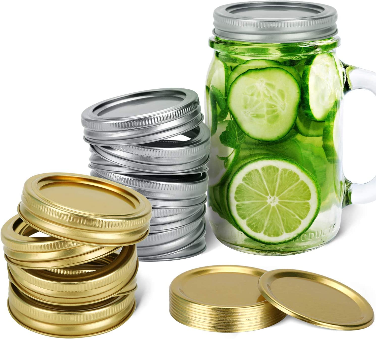 Set of 24 Regular Mouth Canning Lids - 12 Silver Lids & 12 Gold Lids with Bands - Food-Safe Supplies for Canning Mason Jars - Pickling, Packaging, Food Storage Covers - Makes an Airtight Seal