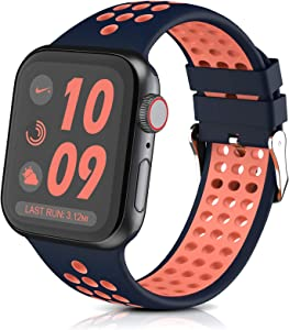 Silicone Bands Compatible with Apple Watch Band 38mm 40mm, Breathable Soft Silicone Replacement Strap for iWatch Series 6, Series 5, Series 4, Series 3, Series 2, Series 1,SE, Sport,Edition.