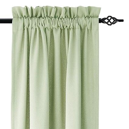 Amazon.com: DWCN Faux Linen Curtain - Rod Pocket Window Curtains ...
