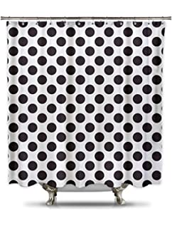 Black And White Polka Dot Shower Curtain 70in X 78in 100 Polyester