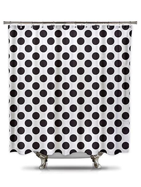 Amazoncom Black And White Polka Dot Shower Curtain 70in X 78in