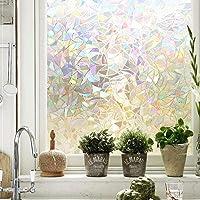 (Rainbow) - Maggift 3D Window Films Privacy Film Static Decorative Film, Non-Adhesive, Heat Control & Anti UV, 45cm by…