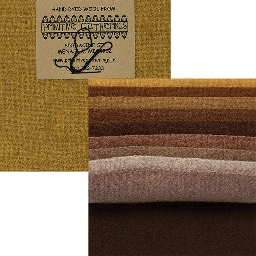 Primitive Gatherings Hand Dyed Wool Primitive 1 Charm Pack 10 5-inch Squares Moda Fabrics PRI 6025