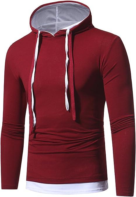 Boom Fashion Homme Pull à Capuche Léger T shirt Manches
