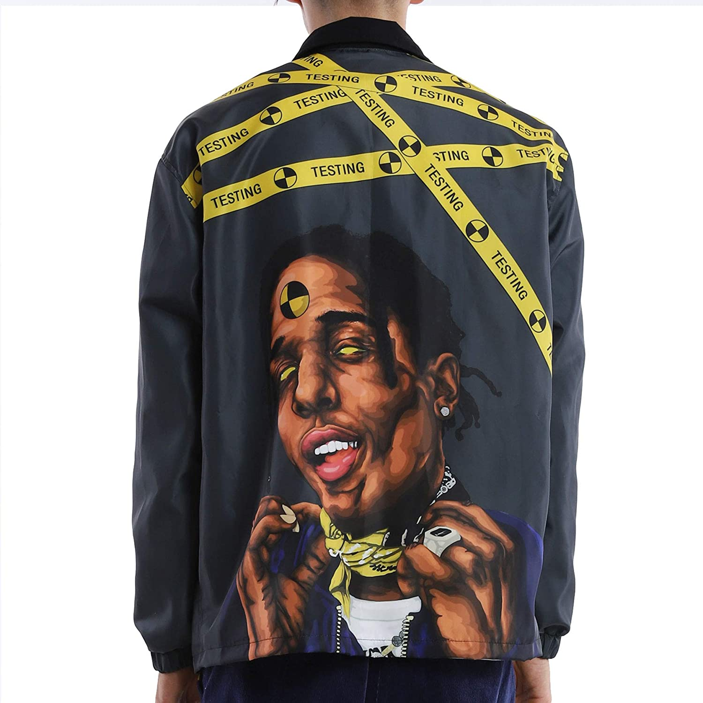 NAGRI ASAP Hip Hop Windbreaker Jacket Long Sleeve Streetwear Graphic Lightweight Windproof Waterproof Wind Jacket Spring