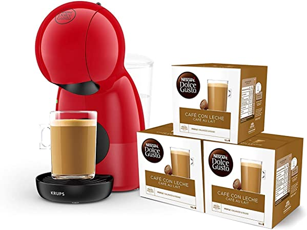 Pack Krups Dolce Gusto Piccolo XS KP1A05SC - Cafetera de cápsulas, 15 bares de presión, color rojo + 3 packs de café Dolce Gusto Con Leche: Amazon.es: Hogar