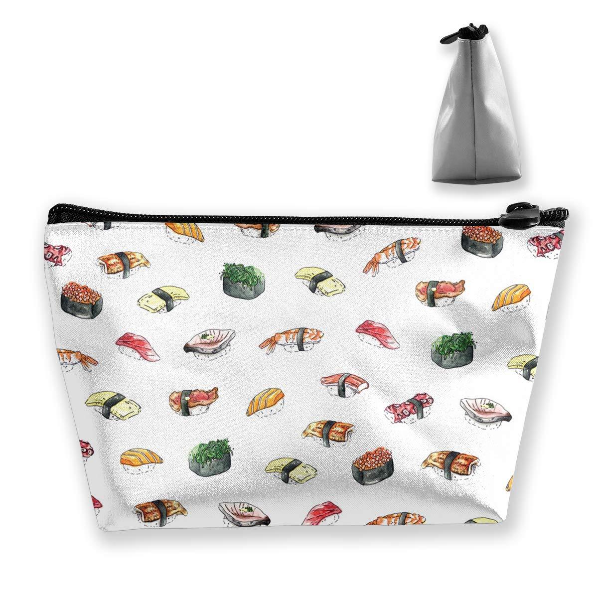Trapezoid Toiletry Pouch Portable Travel Bag Sushi Pattern Pen Organizer