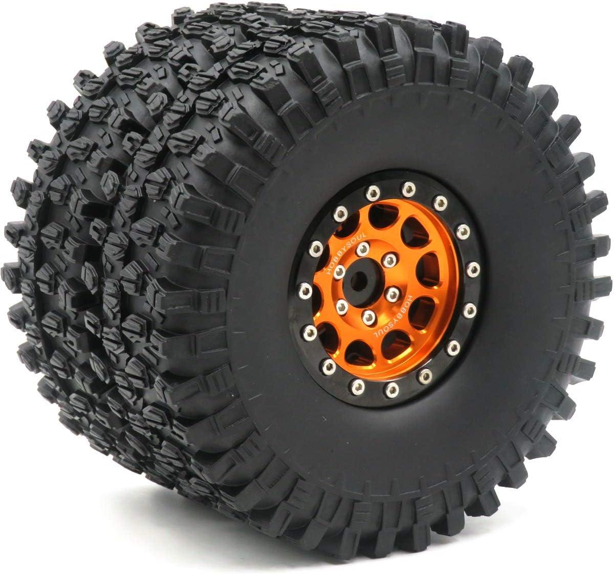 OD 120mm /& Aluminum 1.9 Beadlock Wheel Rim Hex 12mm Black Orange 5pcs RC 1.9 Super Swamper Crawler Tires Tyre Height