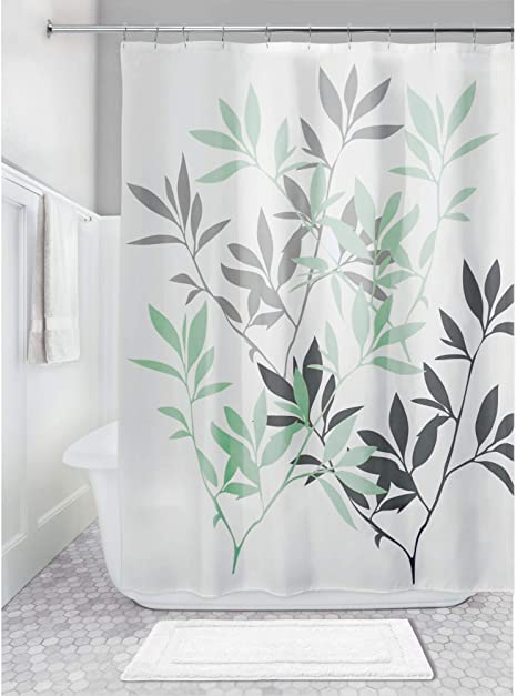 idesign leaves fabric shower curtain water repellent bath liner for kids guest college dorm master bathroom 72 x 72 mint green and gray
