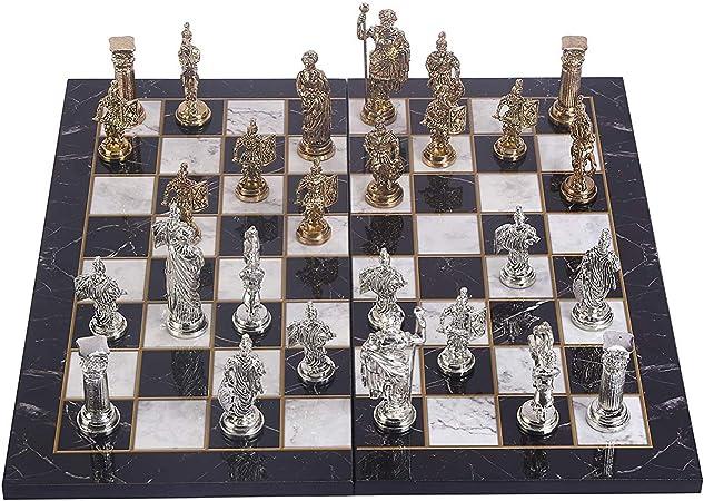 GiftHome - Juego de ajedrez de Metal con Figuras históricas de Roma para Adultos, Piezas Hechas a Mano y Tablero de ajedrez de Madera con diseño de mármol, tamaño King 4.3: Amazon.es: