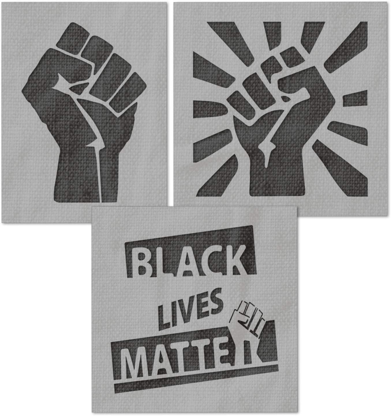 Black Lives Matter Raised Fist Power Stencil Cops Police Brutality