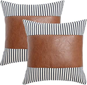 Kiuree Boho Farmhouse Decorative Pillow Covers for Couch Living Room Bed Set of 2 Neutral Ticking Striped Faux Leather Throw Pillow Covers 18 x 18 Outdoor Modern Decor(Navy Blue)