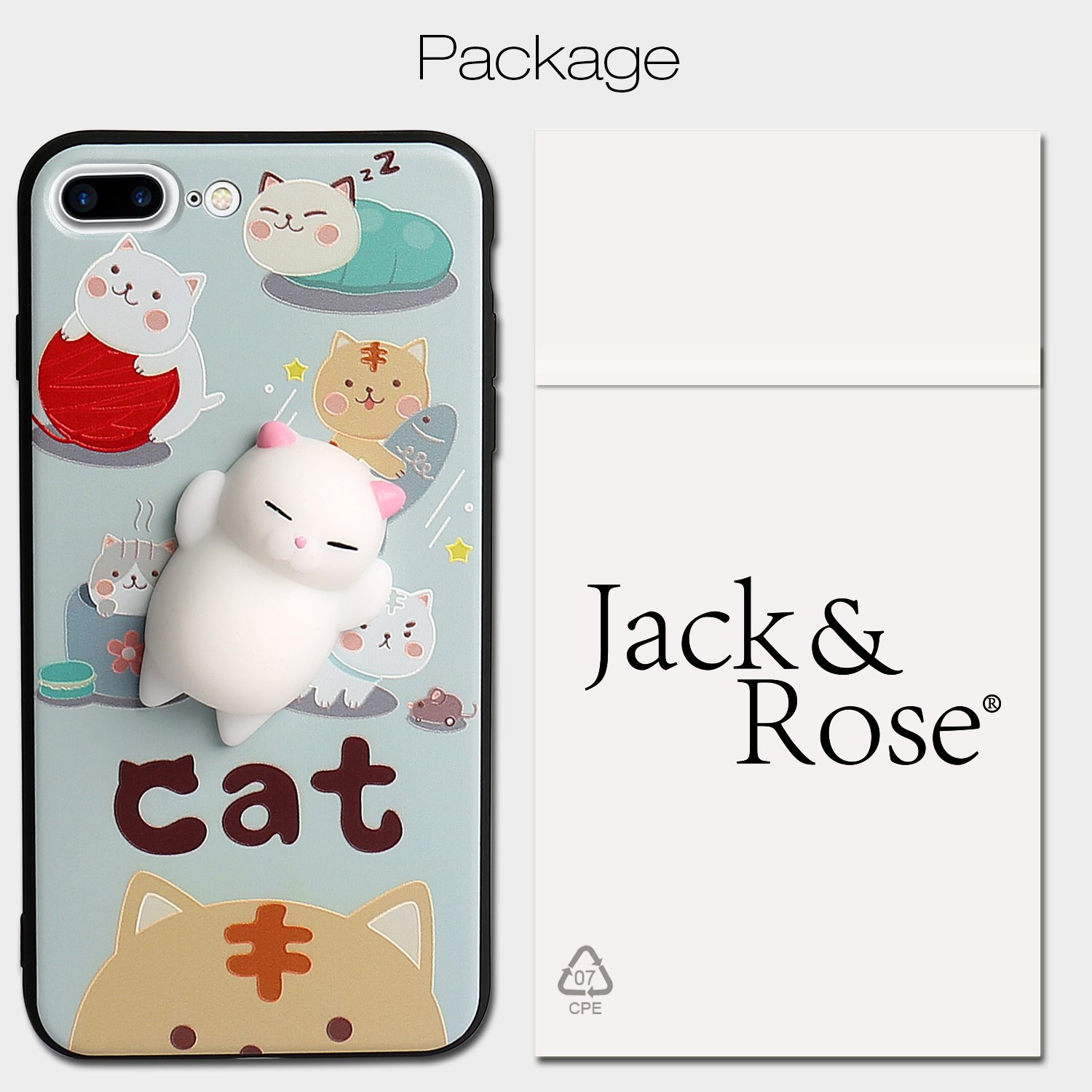Cute Fashion Fresh Novel Squishy Cat for iPhone 6 6s 6s plus 7 7 plus Case, Lovely 3D Soft Silicone Cartoon Animal TPU Protective Back Phone Case