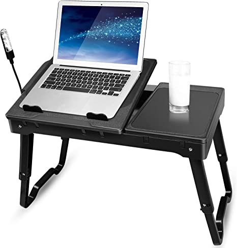 Adjustable Foldable Laptop Desk Table Bed Sofa Notebook Stand Tray Cooling Fan