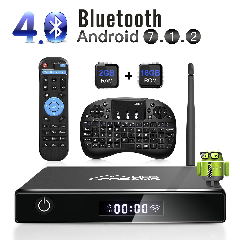 GooBang Doo XB-III Android 7.1 TV Box, 2GB RAM 16GB ROM Amlogic Quad Core 64 Bits Processor 3D 4K Bluetooth with i10 mini Keyboard - Black by GooBang Doo
