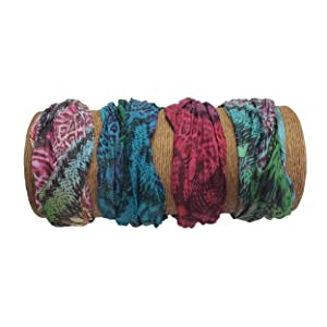 "Bamboo Trading Company Boho Wide Headbands - Set of 4 Wild Tie Dye Print Headwraps - 16"" L x 9"" W - Red, Green, Blue, Aqua Tones"