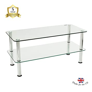 Awesome Mountright 2 Tier Glass Table Small Glass Coffee Table With Chrome Finished Legs Clear Safety Glass Side Table With Rounded Edges Download Free Architecture Designs Crovemadebymaigaardcom