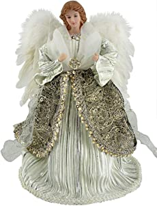 "Santa's Workshop Shimmering Angel Tree Topper, 16"" Tall, Silver/White/Platinum"