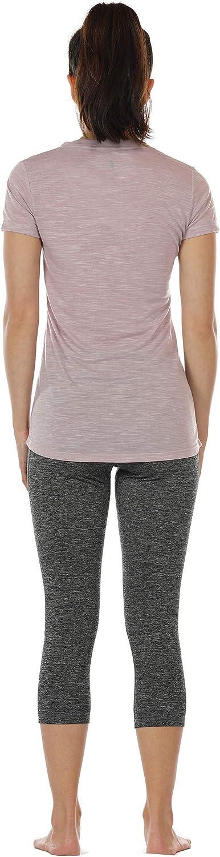 Laufshirt Kurzarm Top Trainingsshirt Fitness Oberteile Sportbekleidung icyzone Damen Sport T-Shirt V-Ausschnitt