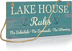 Putuo Decor Lake House Rules Decor, Country Decor for Farmhouse, Cabin, Beach, Bar, 10x5 Inches Hanging Wall Sign