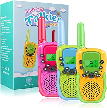 Kids Talks Toy for 3-12 Year Old Boys Girls Gift 3 Miles Long Range for Outdoor Camping Game 22 Channels 2 Way Radio Toy Walkie Talkies for Kids 3Pack