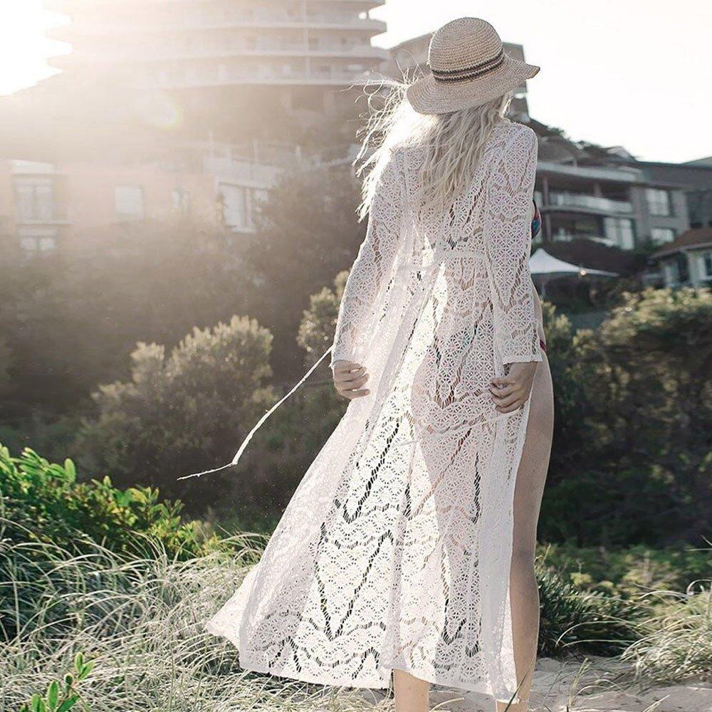 weant Capo da Spiaggia,Copricostumi Mare Donna Lungo Estate Protezione Solare Casual Cardigan Copricostumi da Bagno per Donna Copri Spiaggia da Donna in Pizzo Kimono da donna Boho Bikini Maxi Cover Up