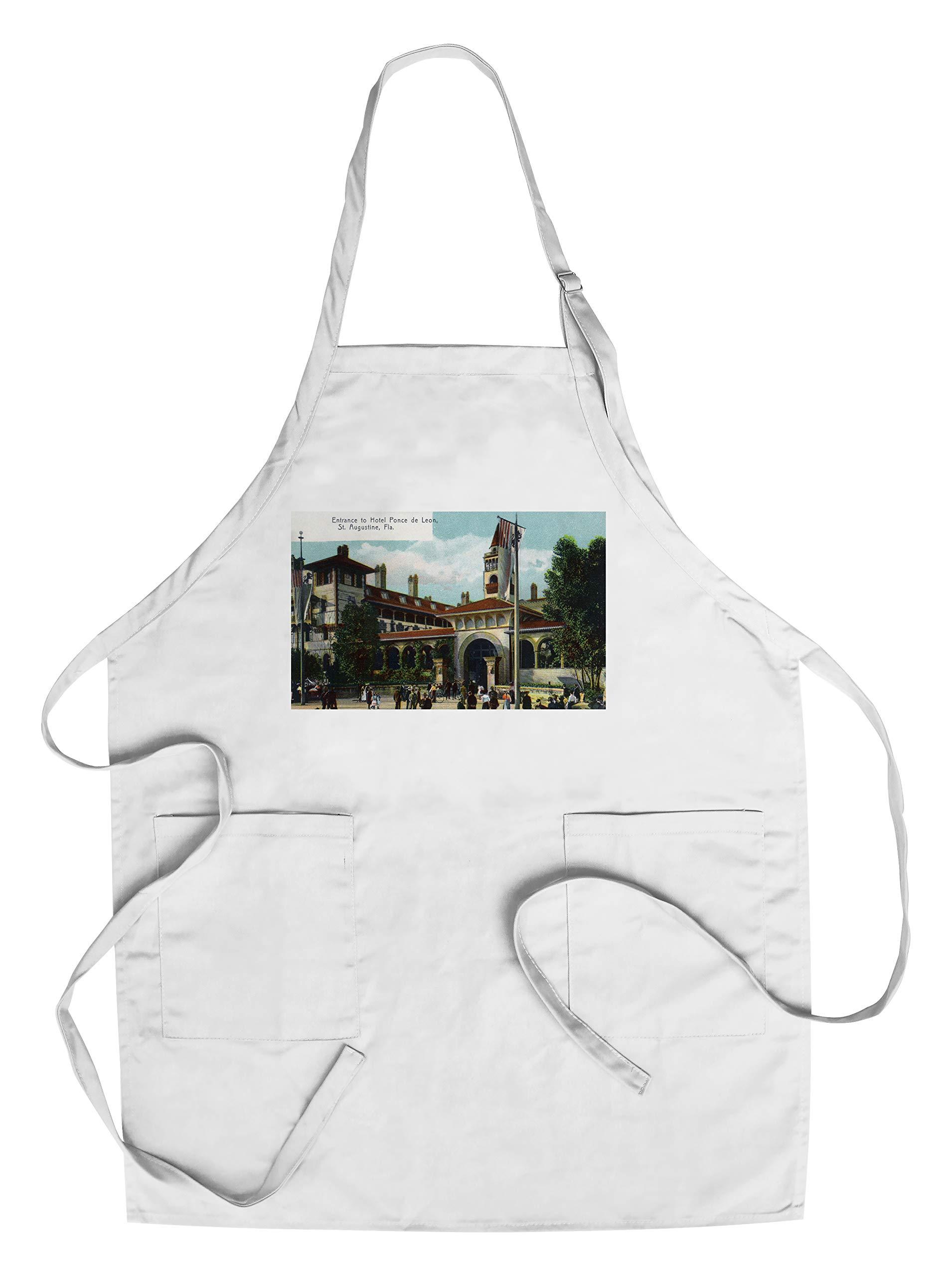 St. Augustine, Florida - Hotel Ponce de Leon Entrance Scene (Cotton/Polyester Chef's Apron)