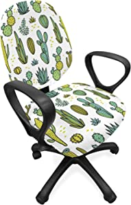 Ambesonne Cactus Office Chair Slipcover, Hand Draw Foliage Pattern Botanical Inspired Floral Tropical Elements, Protective Stretch Decorative Fabric Cover, Standard Size, Reseda Green