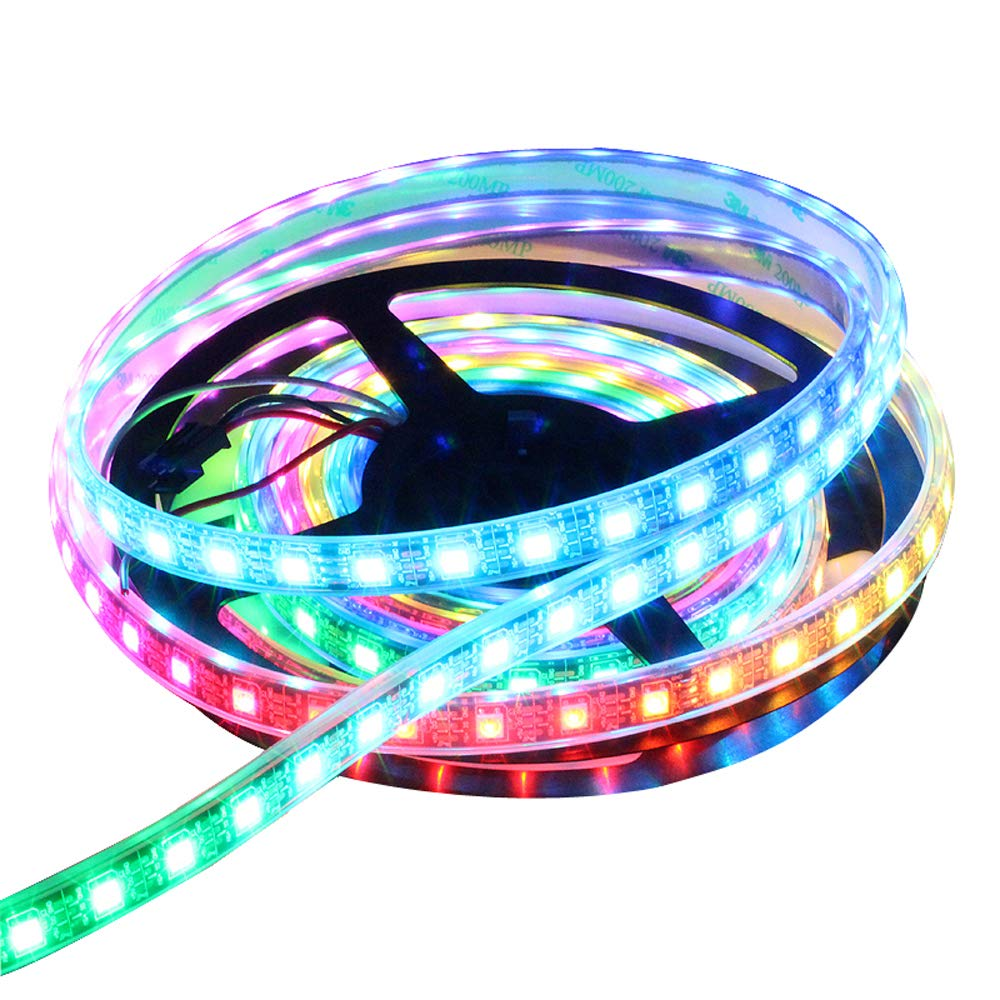 CHINLY 3.3ft 60leds WS2812B Individually Addressable LED Strip Light 5050 RGB SMD 60 Pixels Dream Color Waterproof IP67 Black PCB 5V DC (Black PCB 3.3ft 60leds waterproof) SR5332