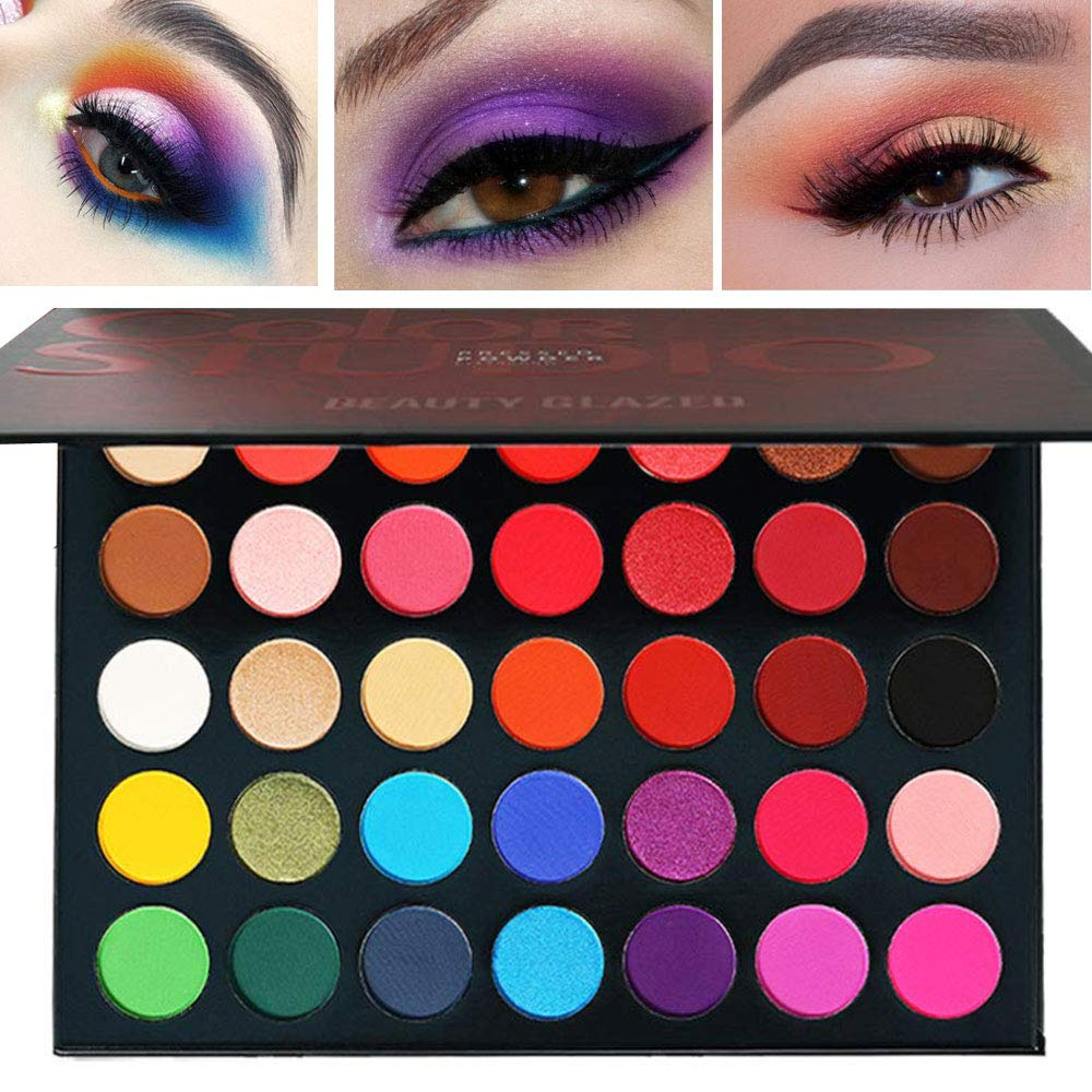 Beauty Glazed 35 Colors MakeUp Inner Artist Pressed Eyeshadow Palette Pop Matte Shimmer Colors Blendable Natural Velvet Texture Powder Creamy Eye Shadow Makeup Palette