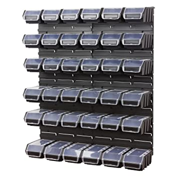 40 piezas de armario pared estantería (Incluye caja cajas apilables negro placas de pared Ergo Plus Tapa Talla 2: Amazon.es: Bricolaje y herramientas