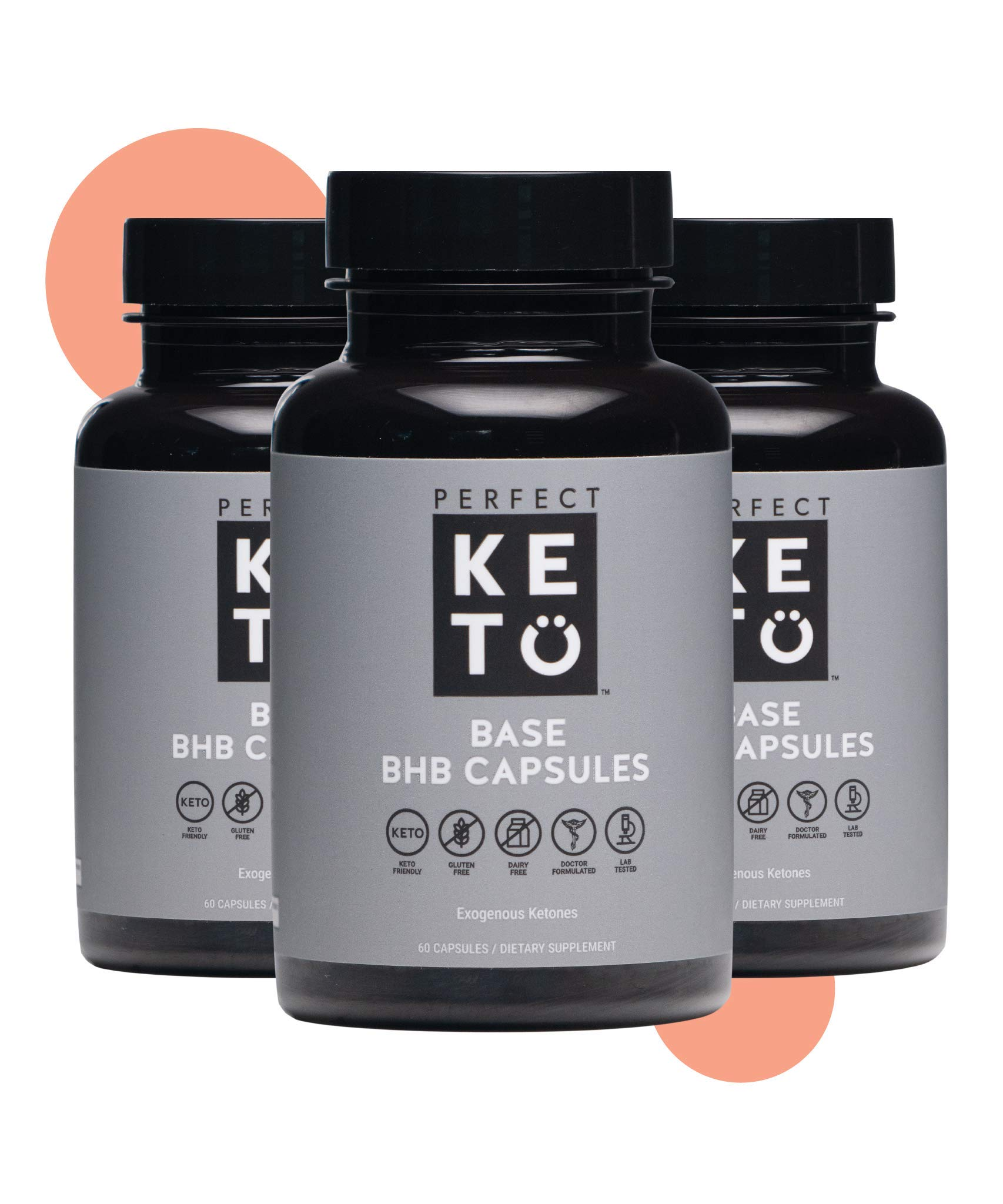 Perfect Keto BHB Exogenous Keto Capsules | Keto Pills for Ketogenic Diet Best to Support Weight Management & Energy, Focus and Ketosis Beta-Hydroxybutyrate BHB Salt Pills, 60 Count (Pack of 1) by Perfect Keto