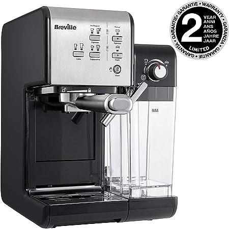 Breville PrimaLatte II VCF108X 01 VFC108X 01 Cafetera de espresso (19 bares, para café en polvo o monodosis), color negro y plateado