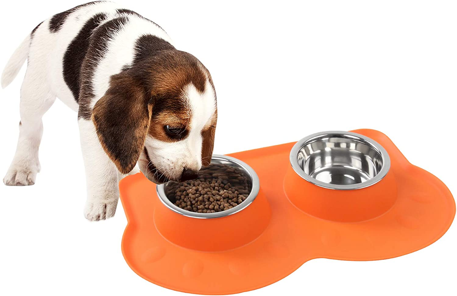 Pet Food and Water Bowls with 2 Stainless Steel Bowl & No Spill Non-Skid Silicone Mat Dog Double Feeding Bowl (350ml x 2)